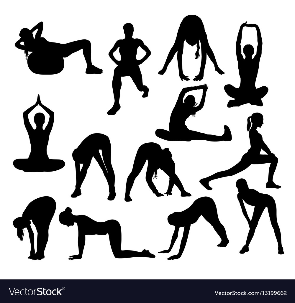 Stretching and exercise silhouettes vector