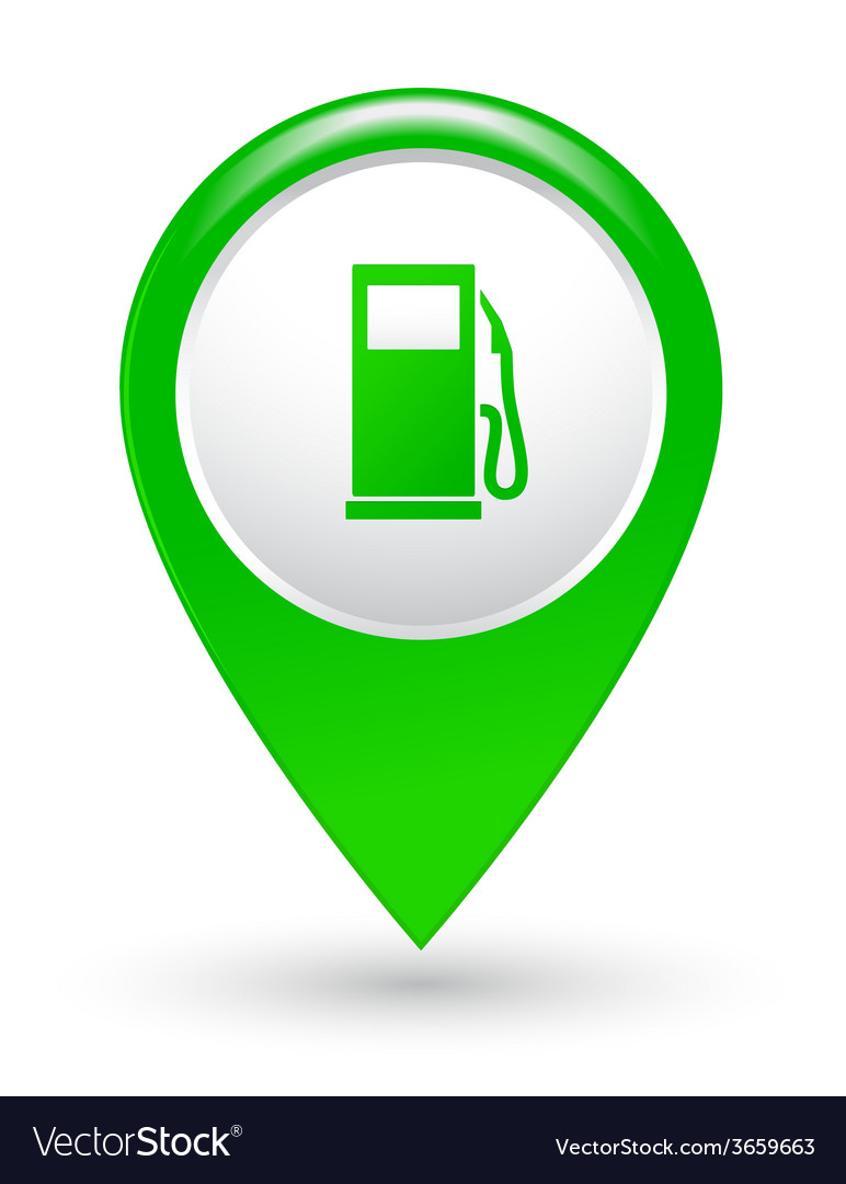 Green gas station pointer vector
