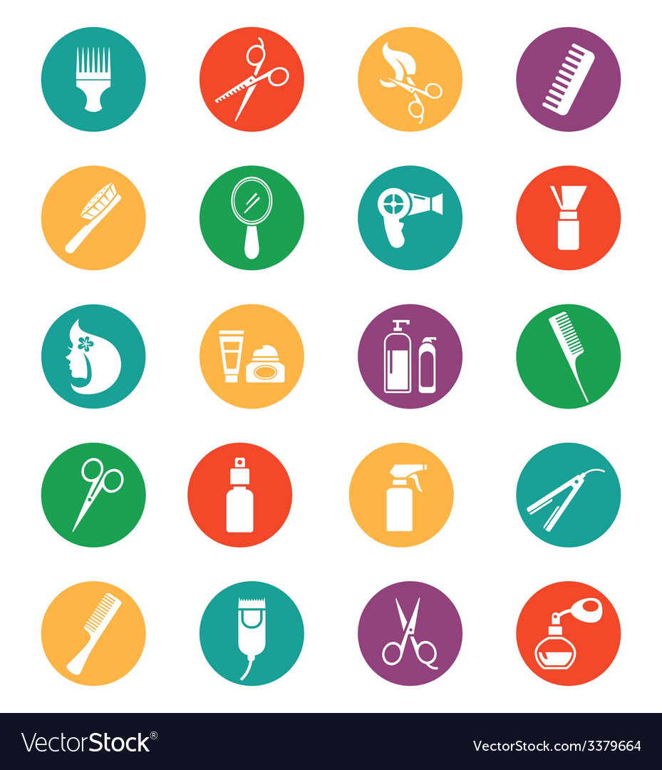 Colored hairdressing equipment icons vector