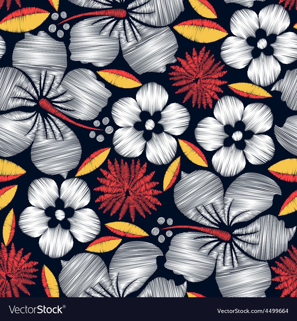 Hibiscus tropical embroidery seamless pattern vector