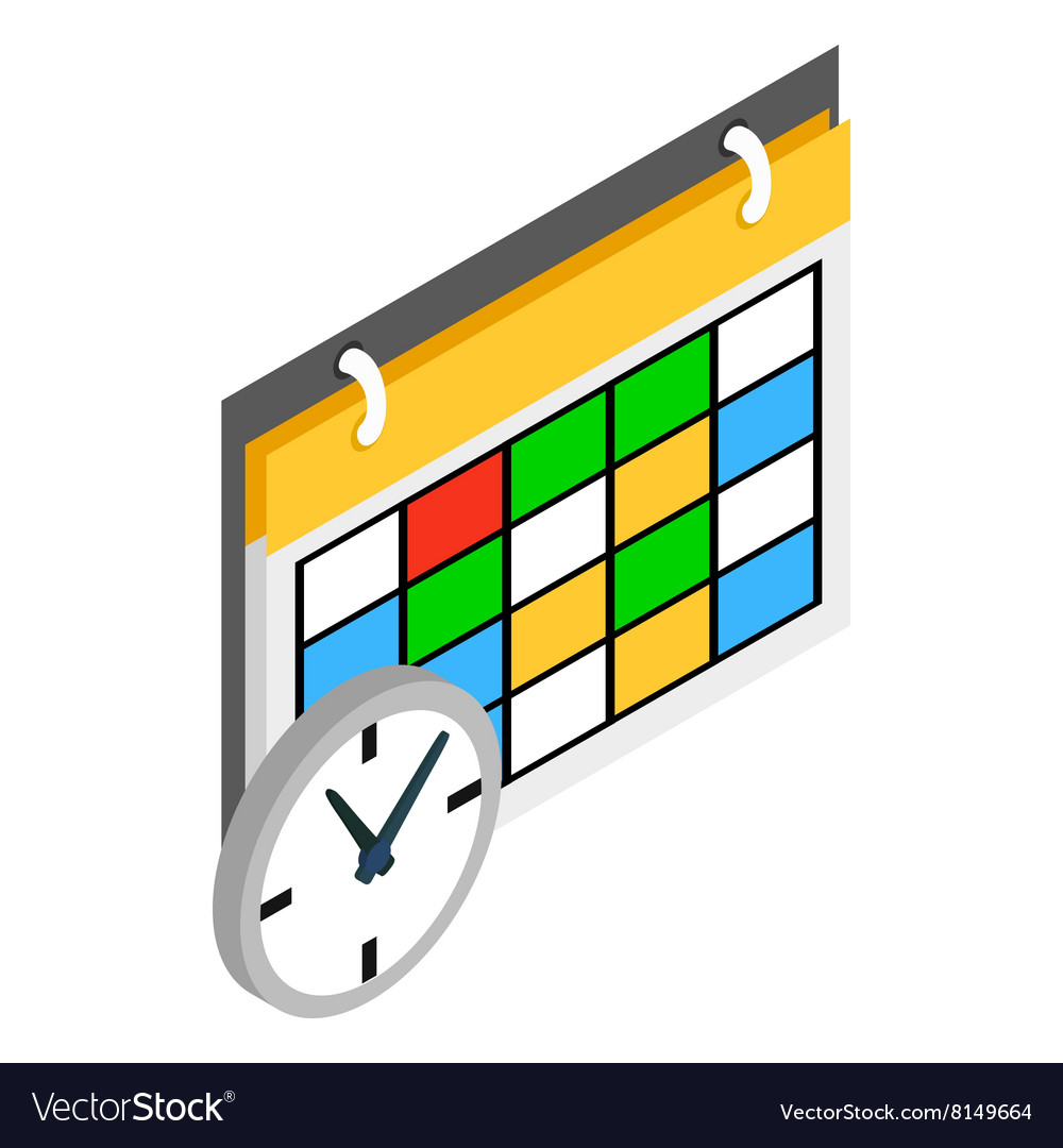 Schedule and clock icon isometric 3d style vector