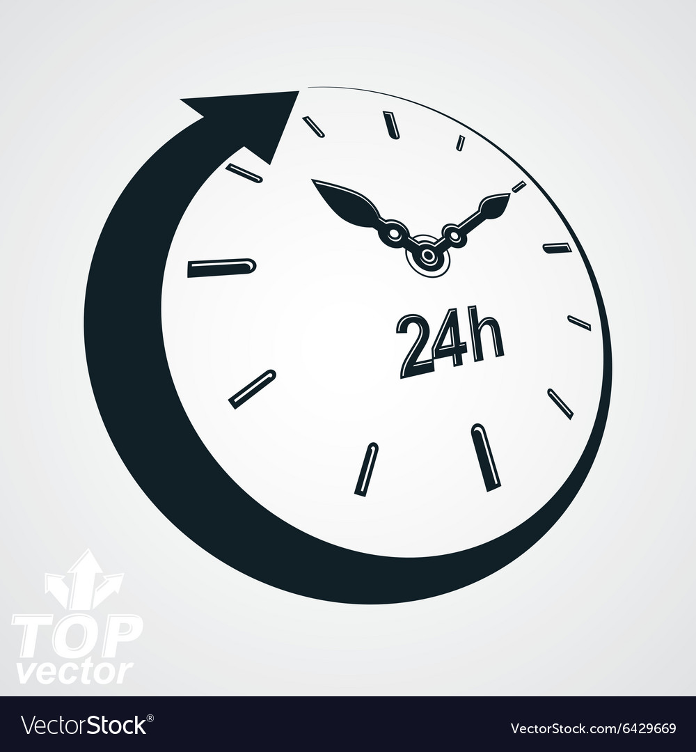 3d 24 hours clock black and white dayandn vector