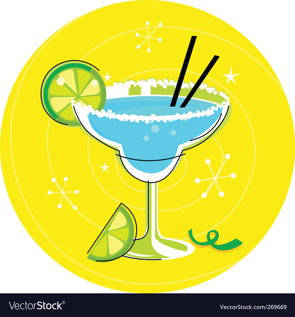 Margarita retro cocktail vector