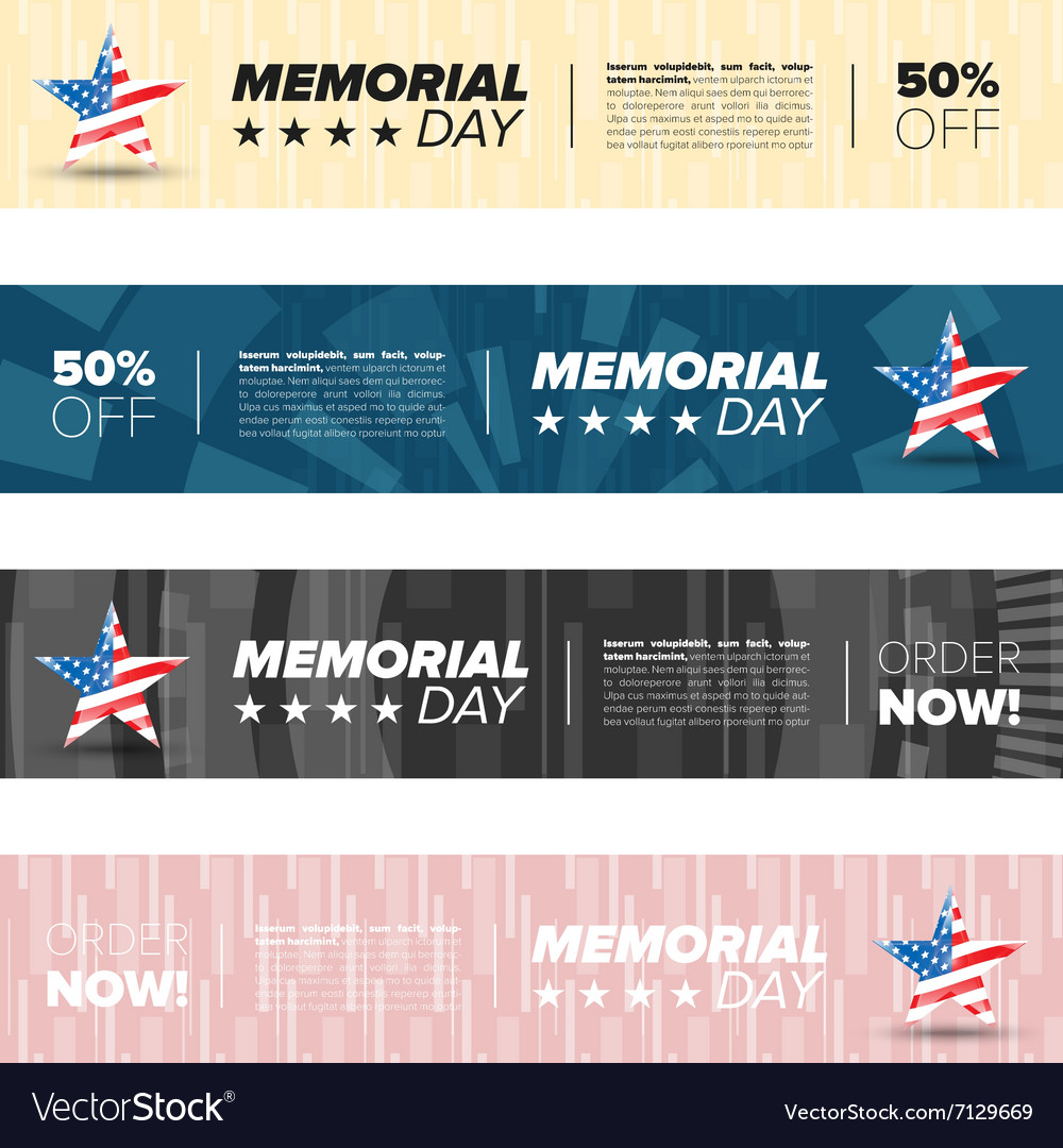 Memorial day banner set vector