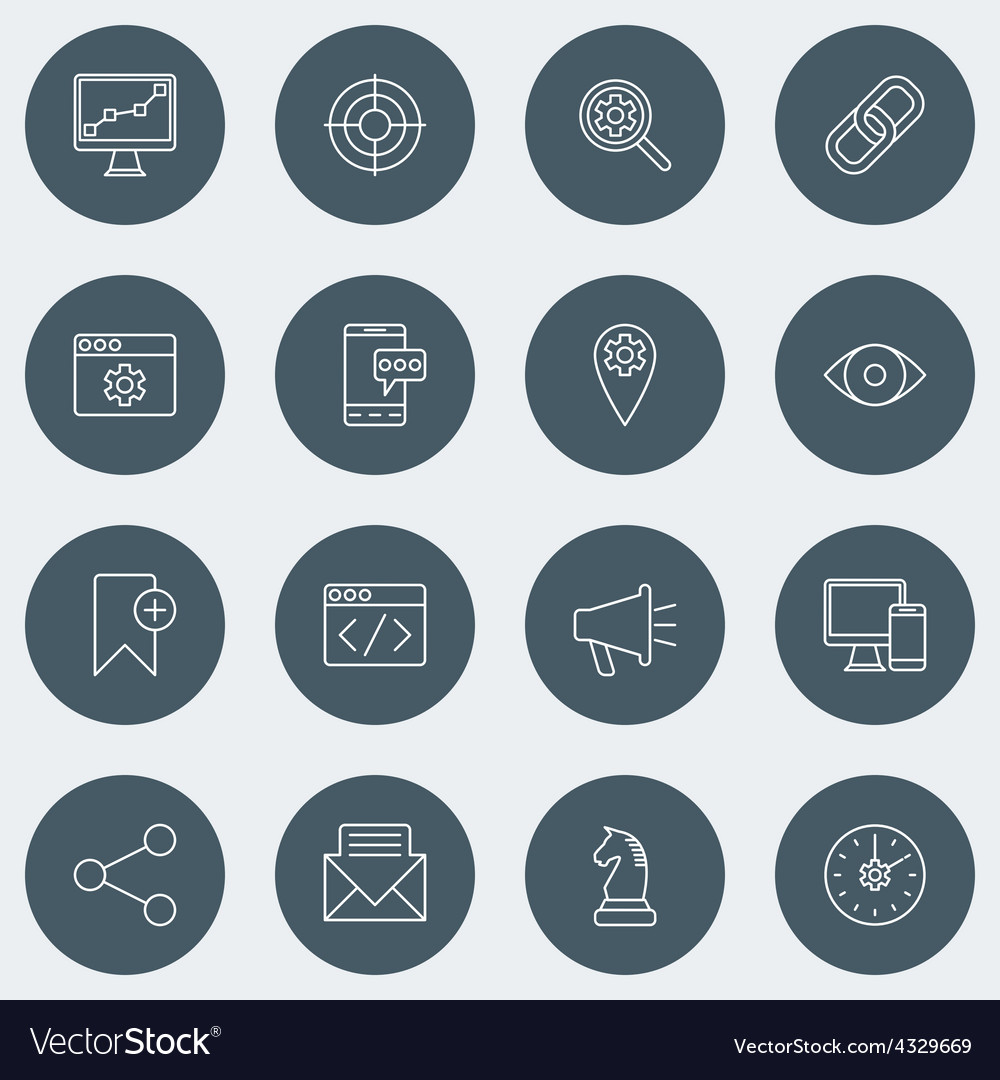 Set of thin line seo and development icons vector