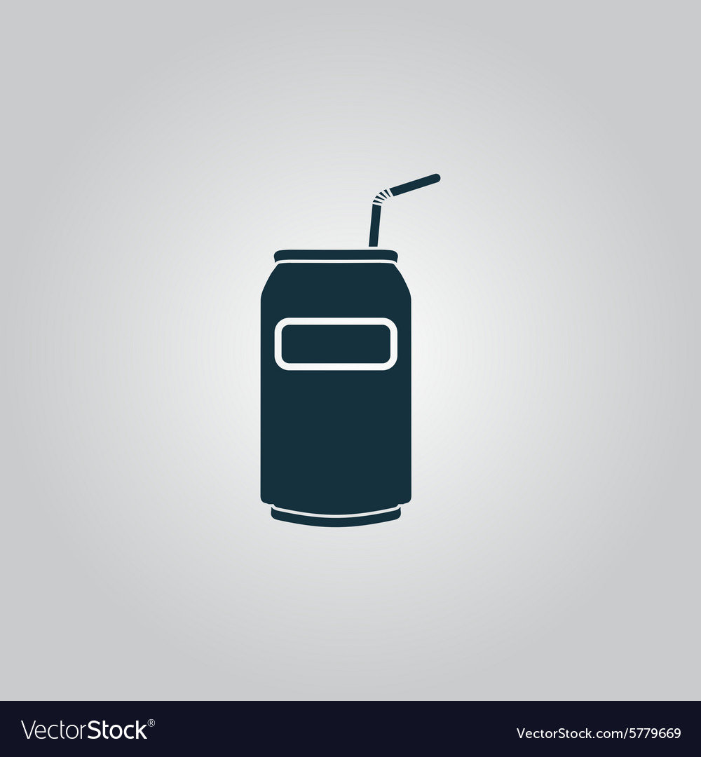 Soda cans with tube icon vector