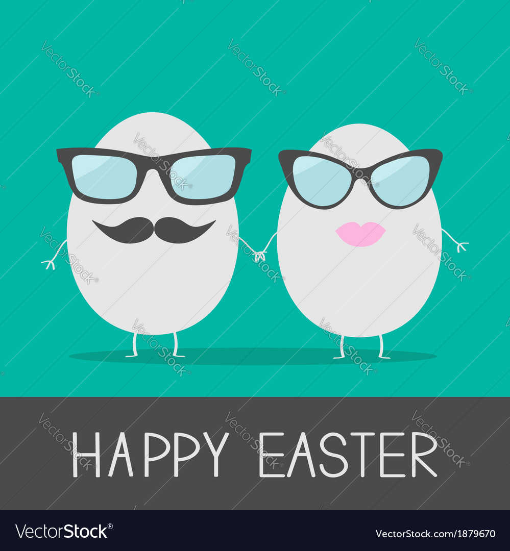 Egg easter couple with lips mustaches and eyeglass vector