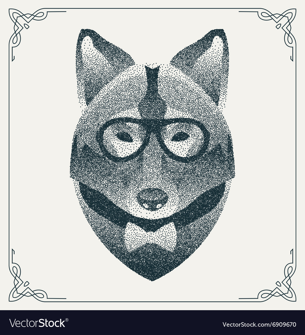 Halftone hipster wolf with black dots vector