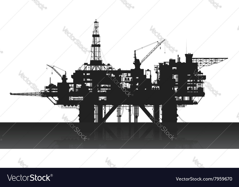 Sea oil rig oil platform in the deep sea vector