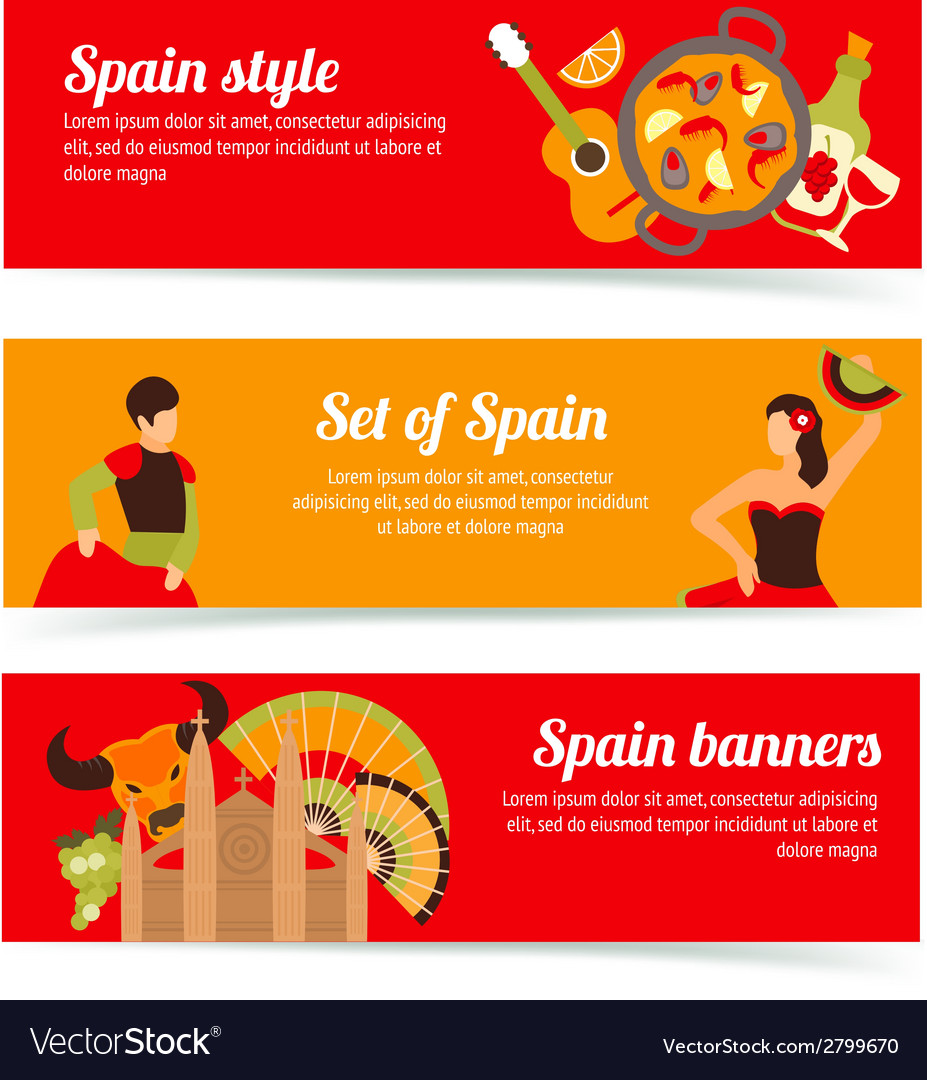 Spain banners set vector