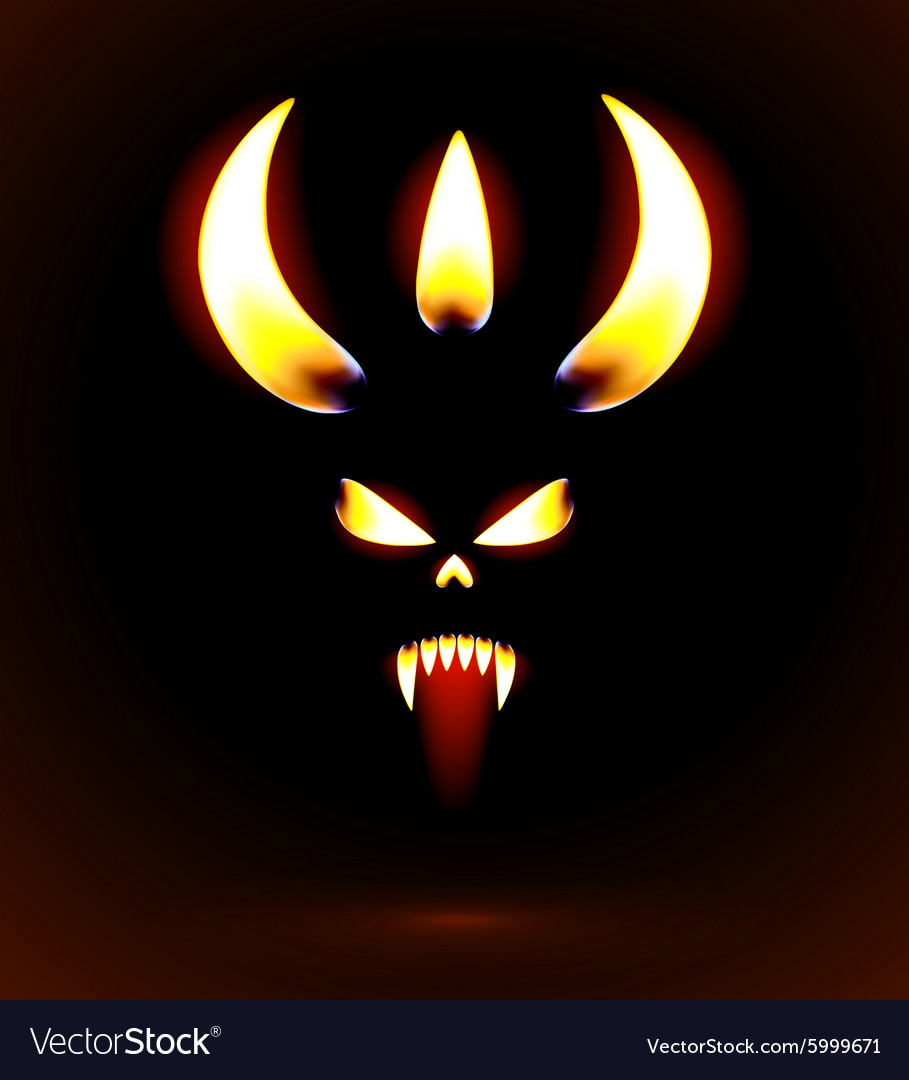 Glowing silhouette of the devil vector
