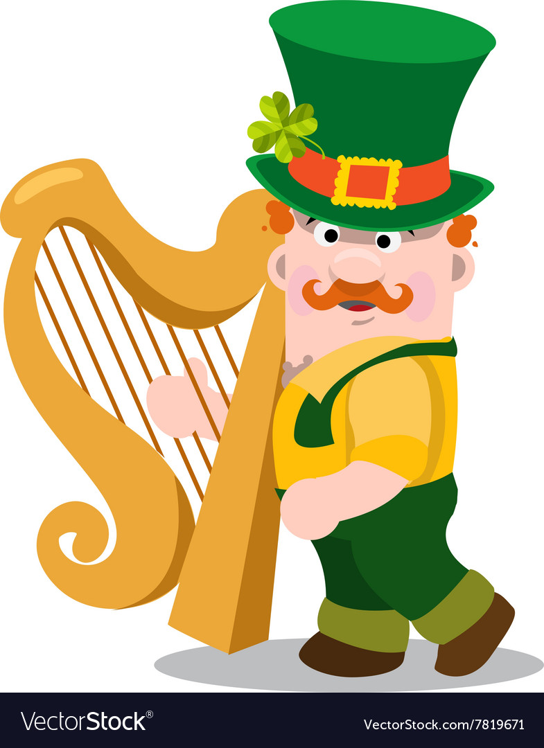 Man with the golden harp st patrick s day vector