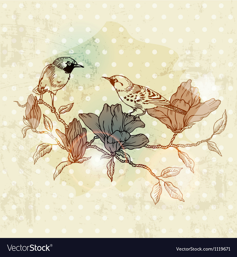 Vintage spring card with bird and flowers vector
