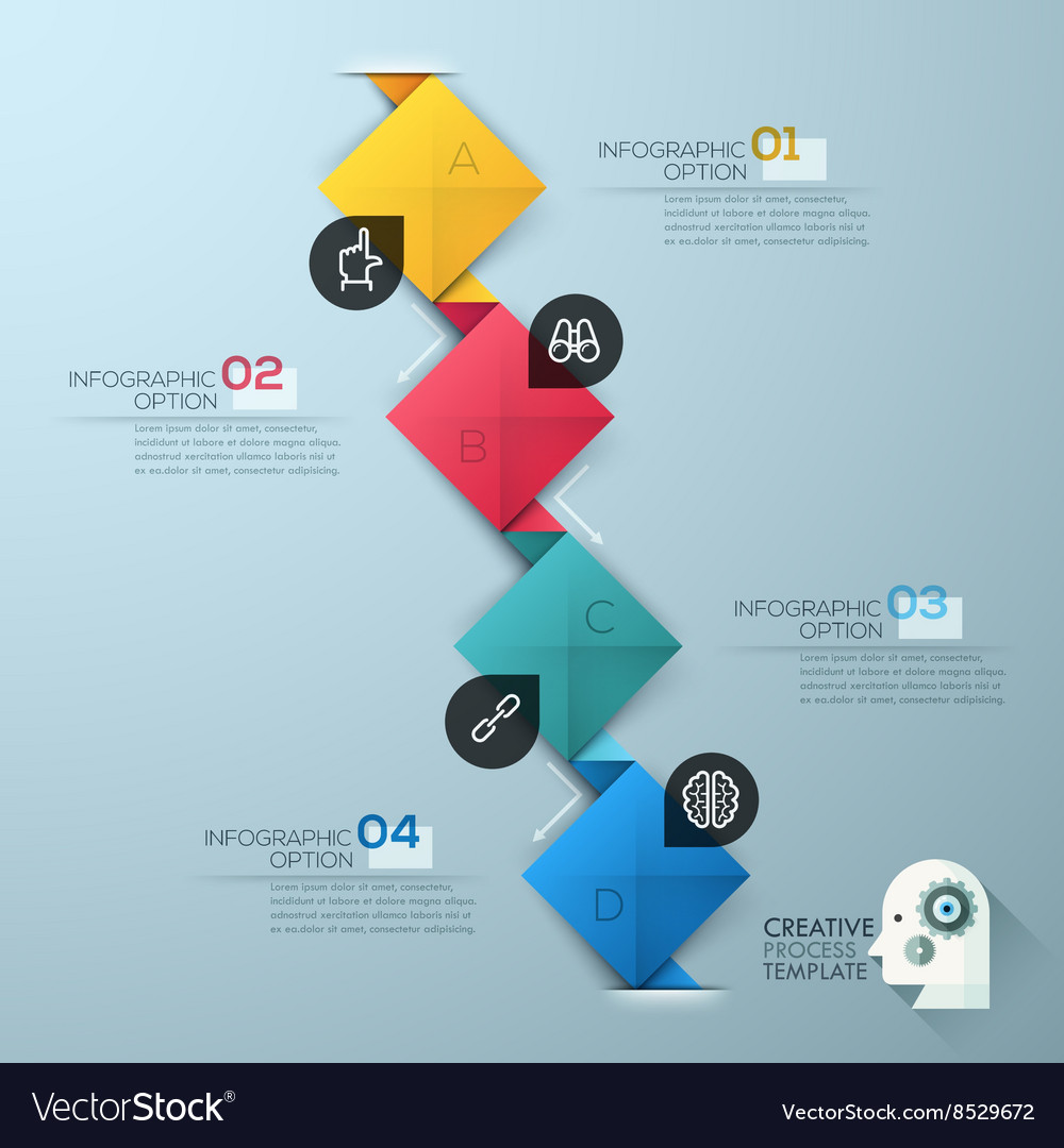 Modern business steb origami style options banner vector