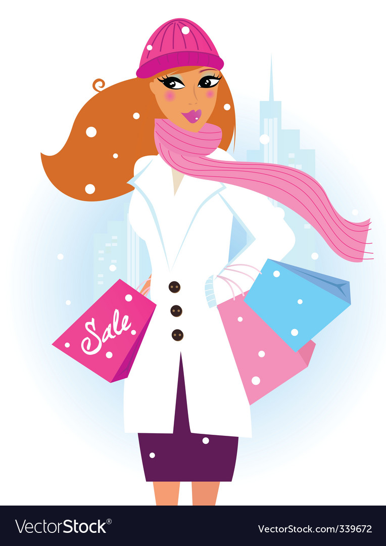 Winter shopping woman in city vector