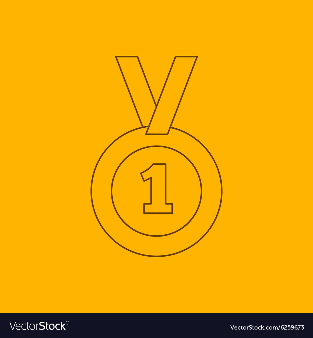 1st place medal line icon vector