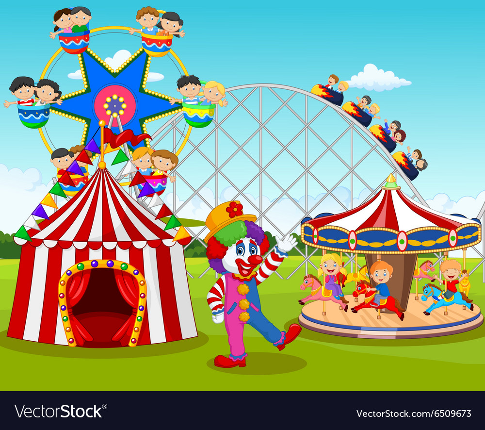 Cartoon happy children and clown in the amusement vector