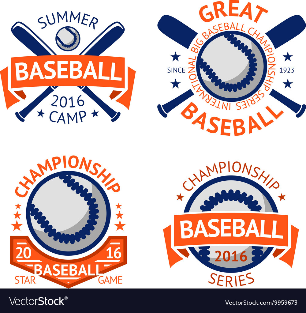 Set of old style baseball labels with ball and vector