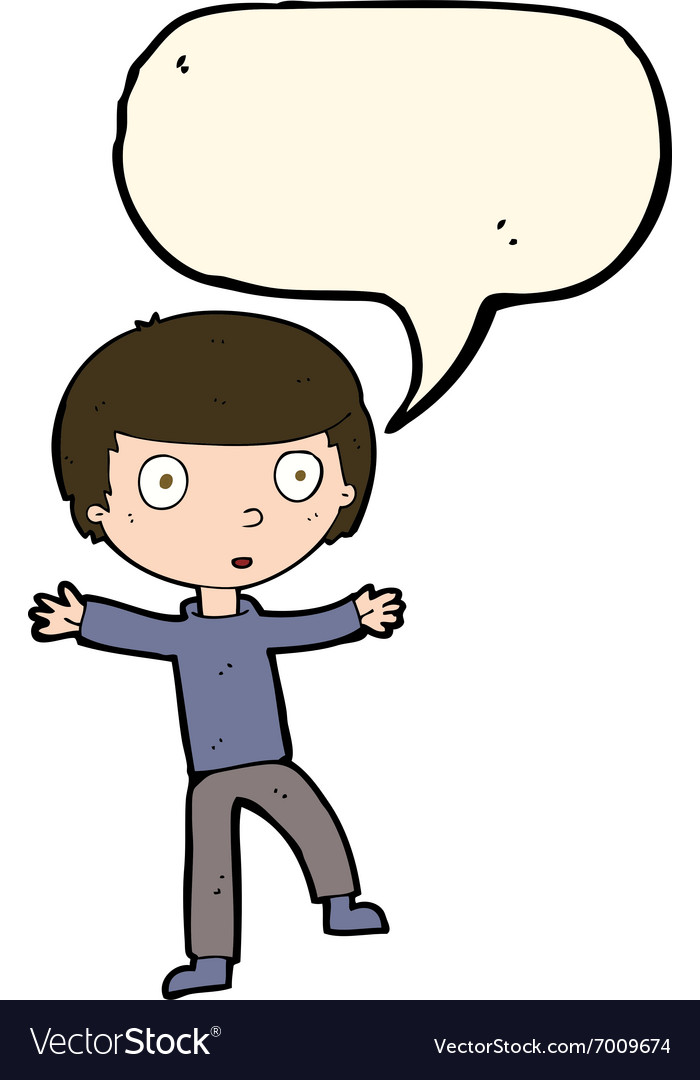 Cartoon startled boy with speech bubble vector