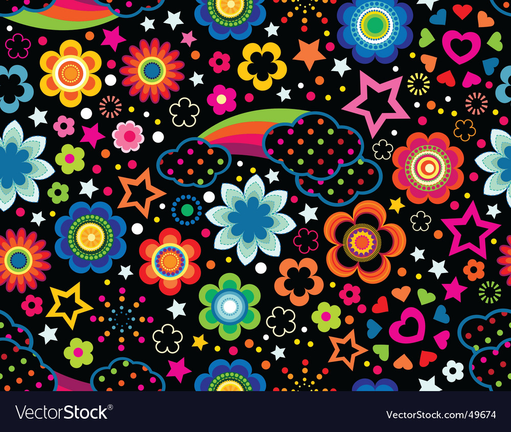 Floral rainbow background vector