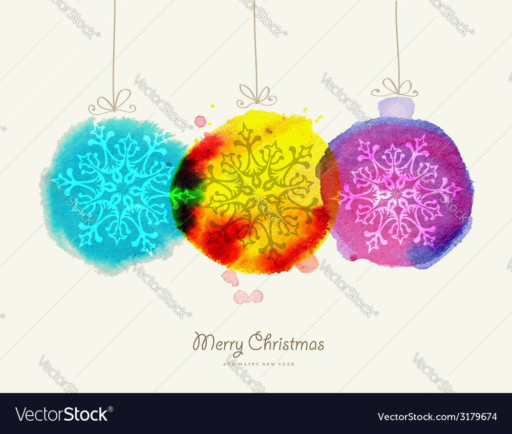 Merry christmas watercolor baubles card vector