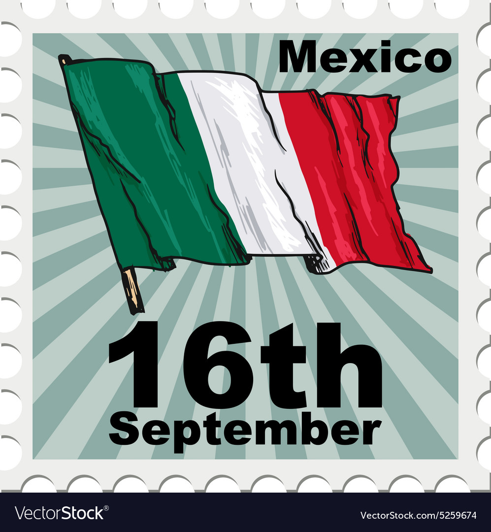 Post stamp of national day of mexico vector