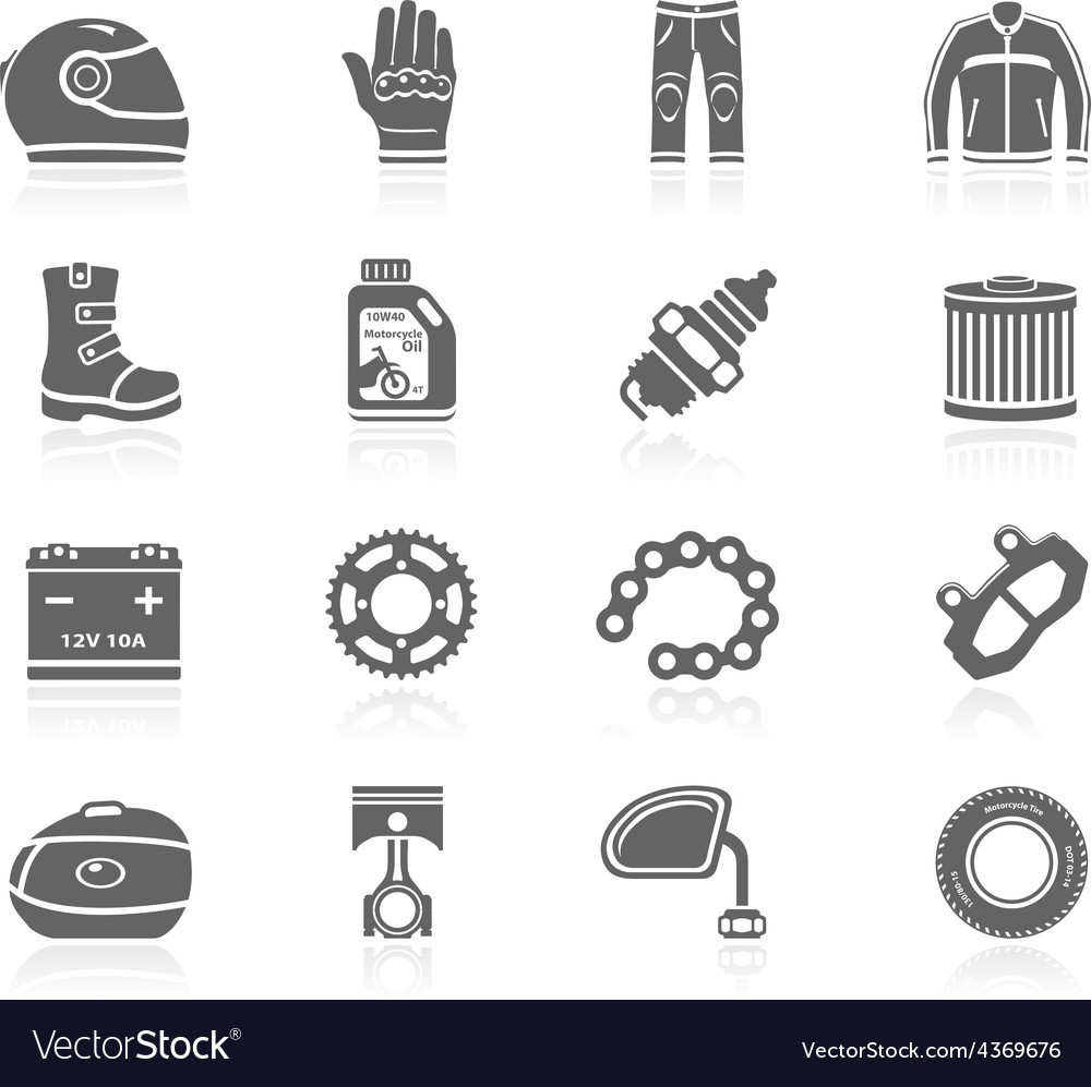 Black icons  motorcycle gear and accessories vector