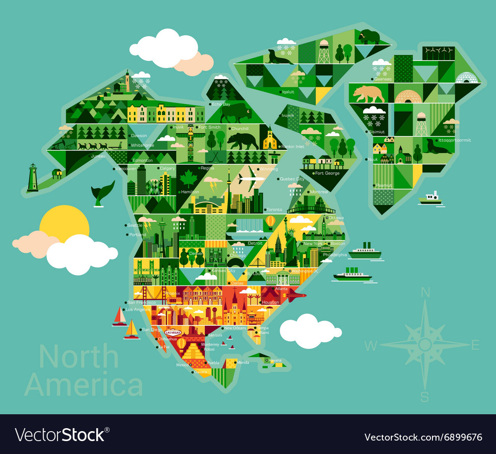 Cartoon map of north america vector