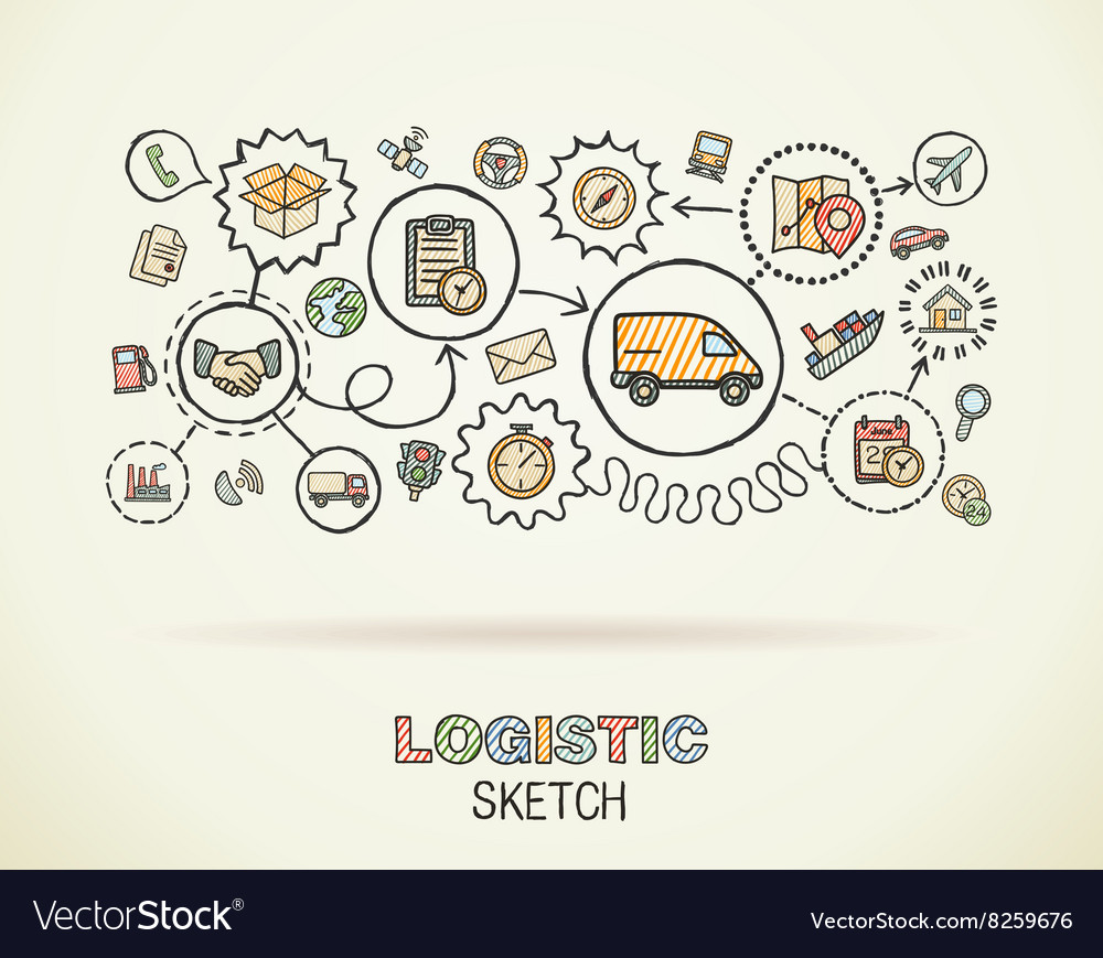 Logistic hand draw integrated icons set on paper vector