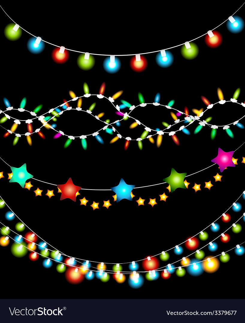 Colorful christmas lights garlands vector