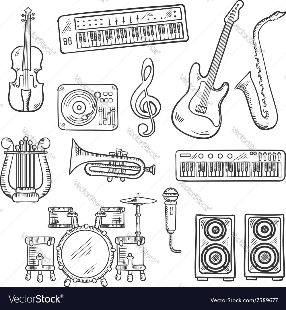 Musical instruments and equipments sketches vector