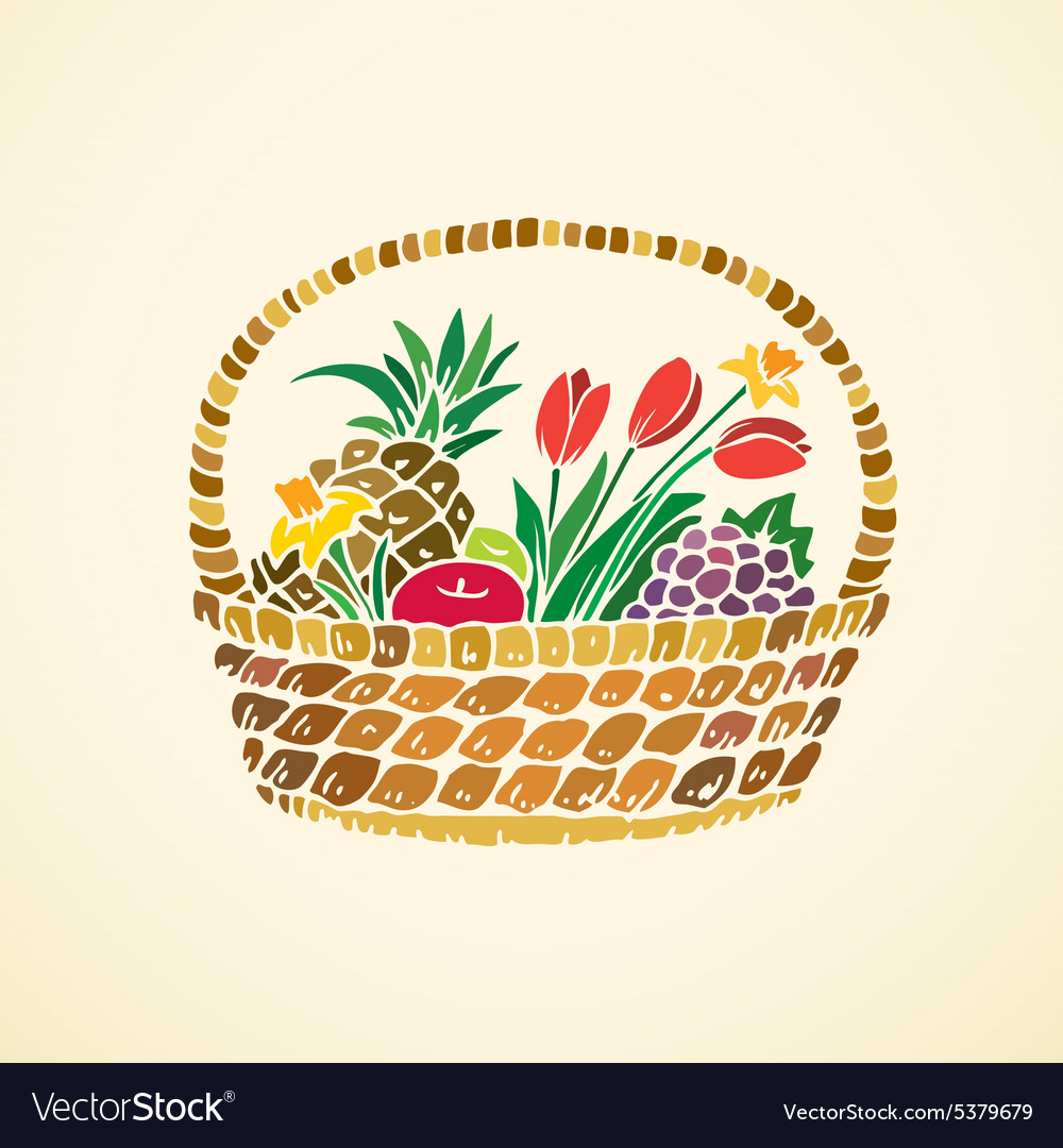 Basket with fruits and flowers vector