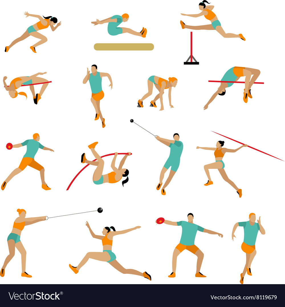 Set of people in sport poses track and vector