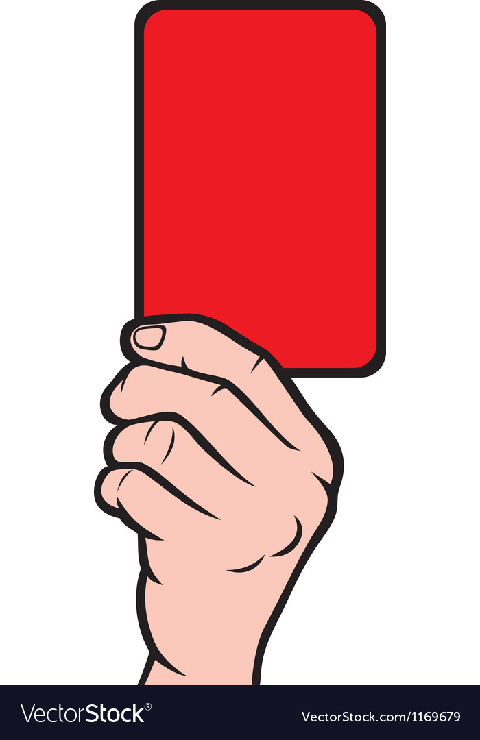 Soccer referees hand with red card vector