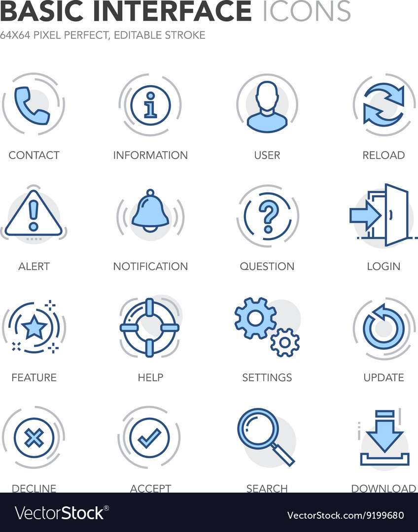 Blue line basic interface icons vector