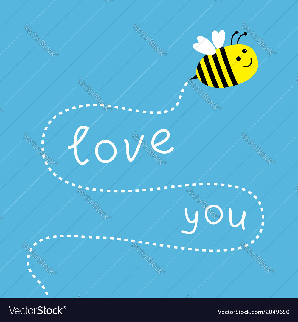 Flying bee dash line in the sky card vector