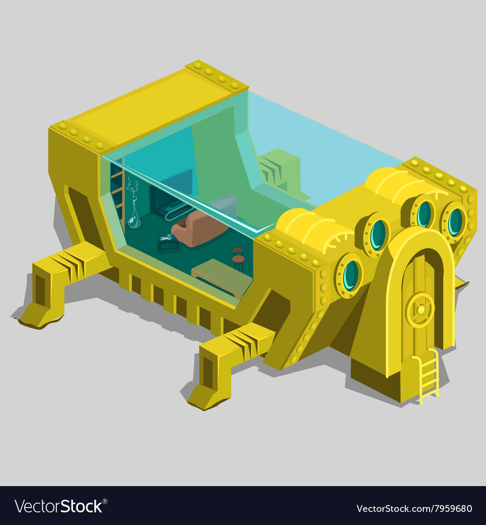 Underwater bunker with a living room and furniture vector