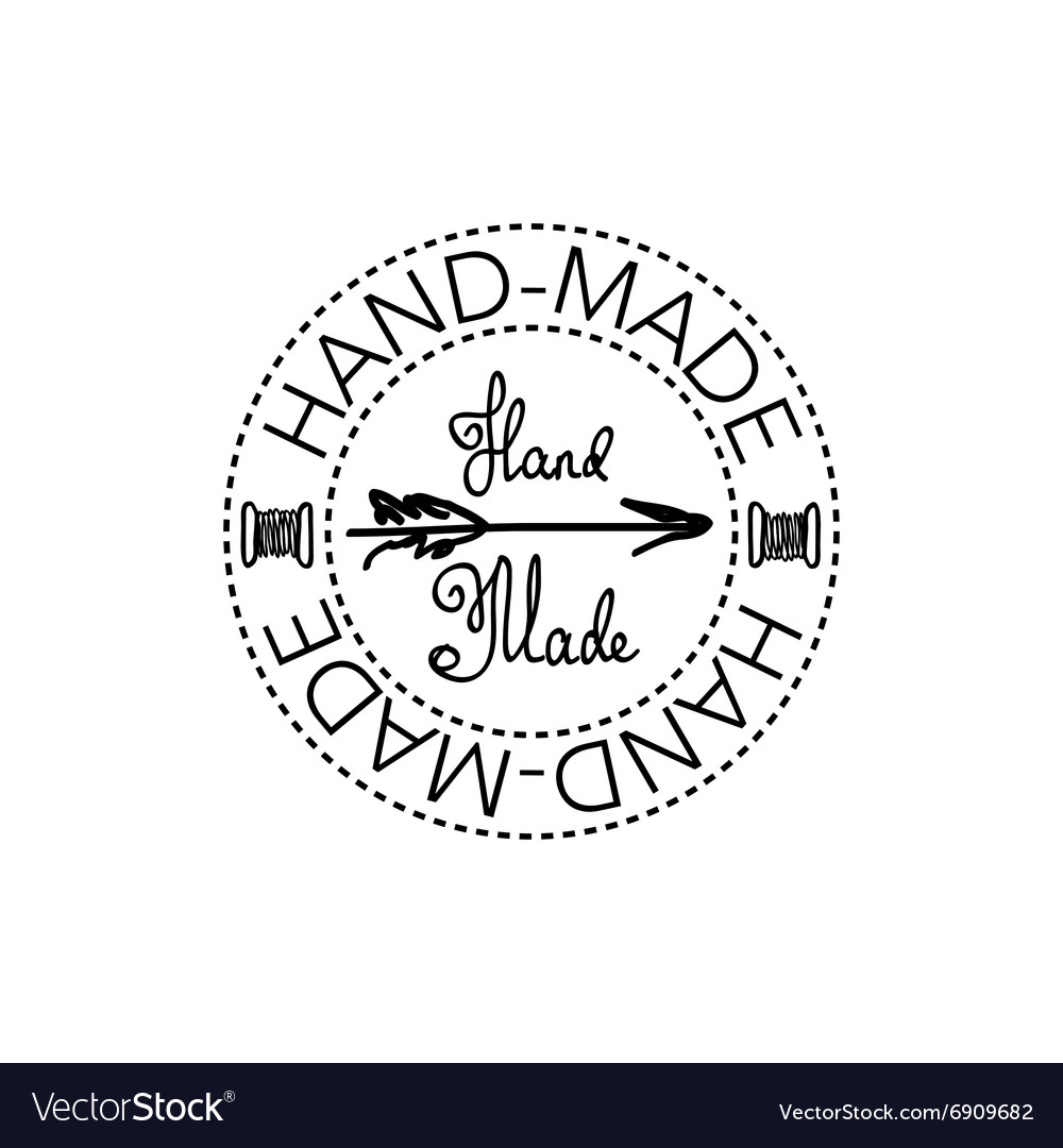 Handdrawn retro handmade badge vector