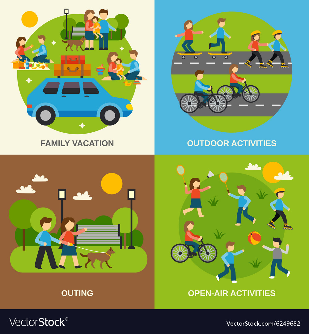 Outing flat set vector
