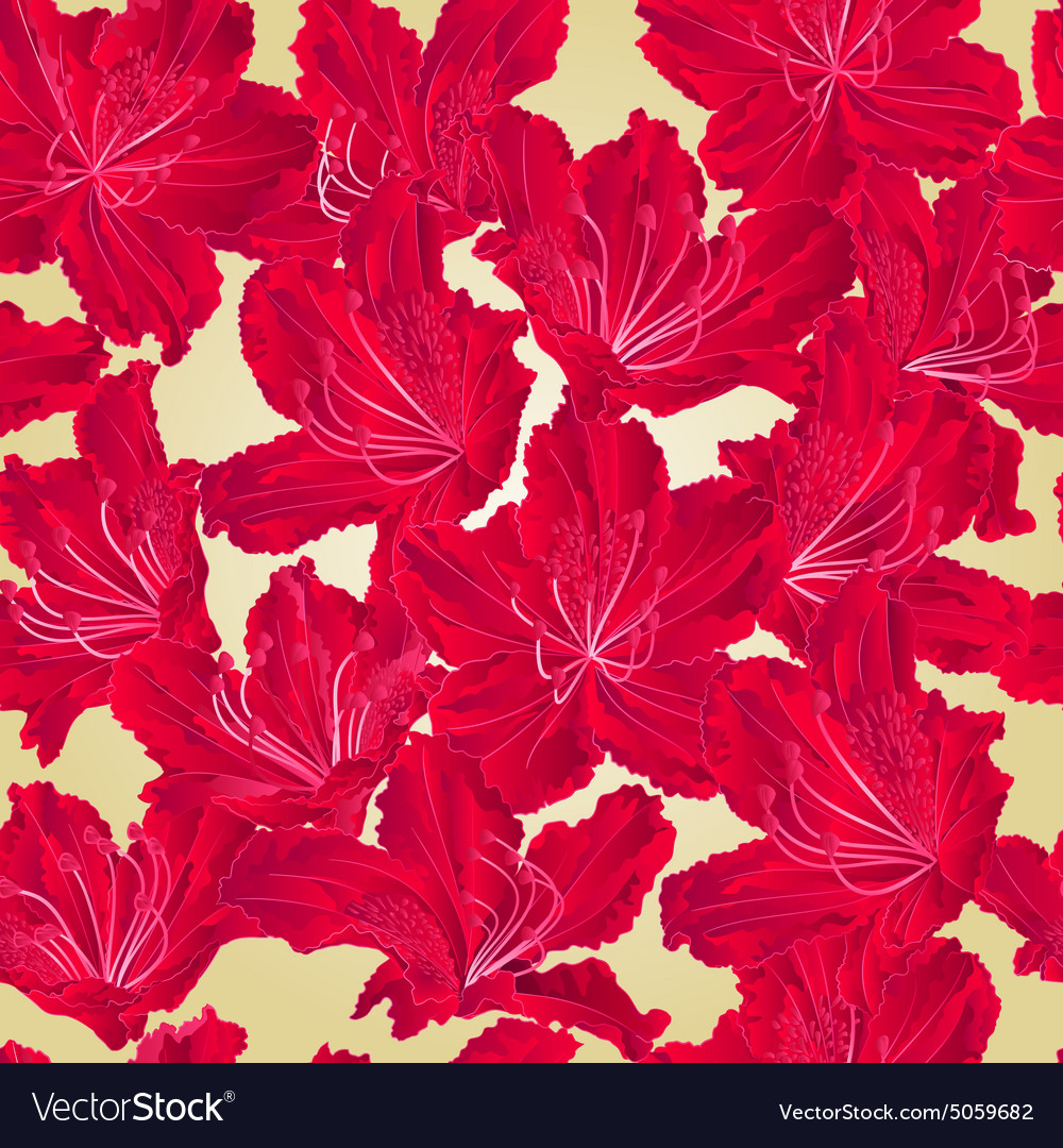 Seamless texture rhododendron red flower vector
