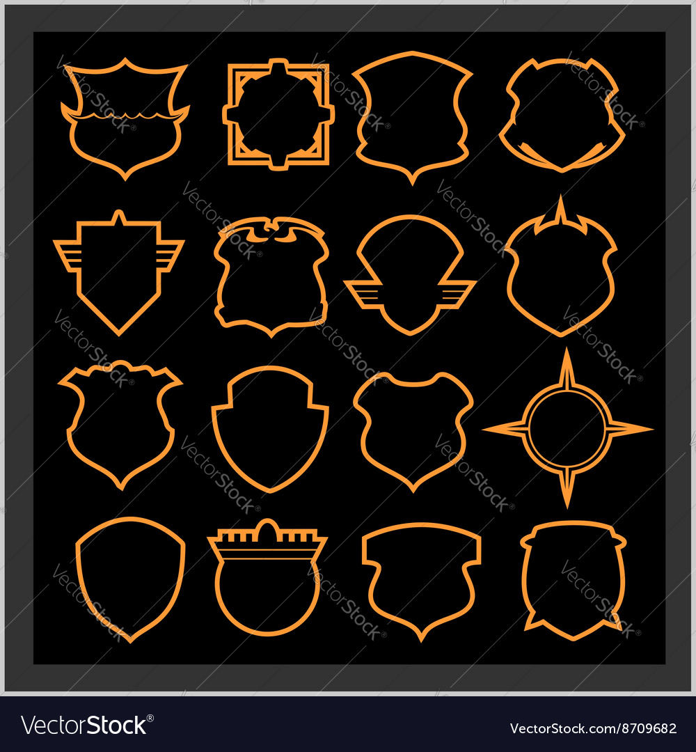 Shield frames icons set  vintage heraldic shields vector