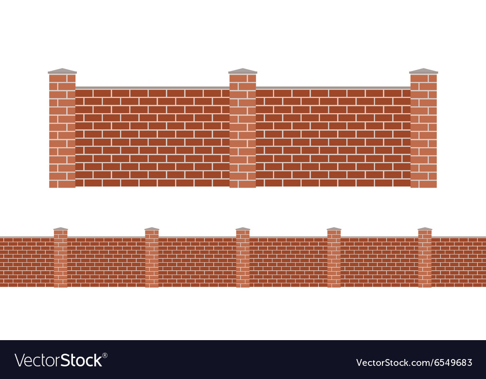 Stone bricks fence isolated on white background vector
