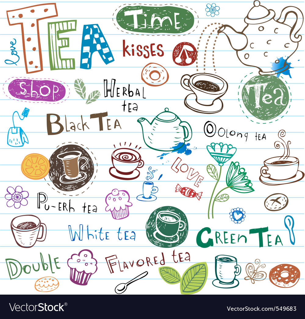 Tea doodles vector
