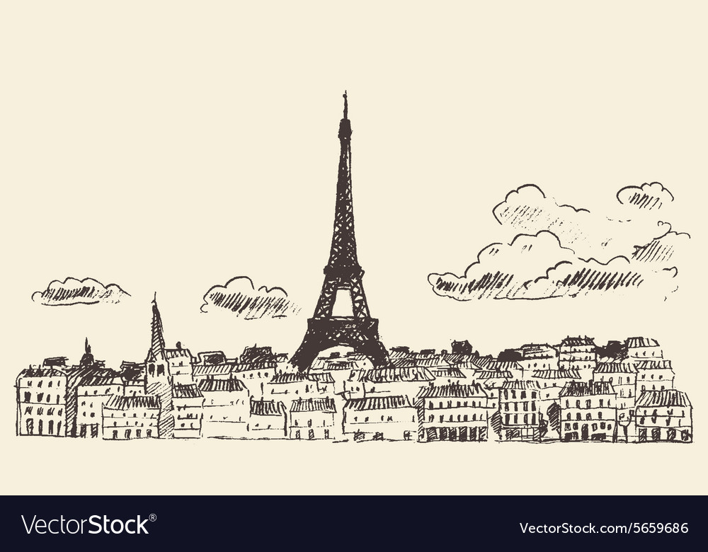 Paris skyline france eiffel sketch drawn vector