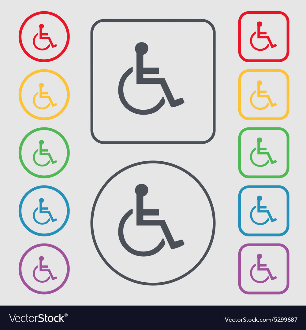 Disabled icon sign symbol on the round and square vector