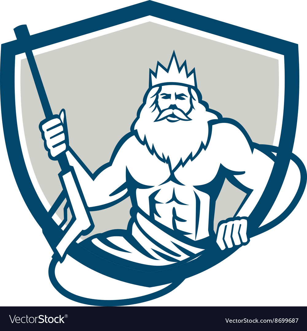 Neptune power washer shield retro vector