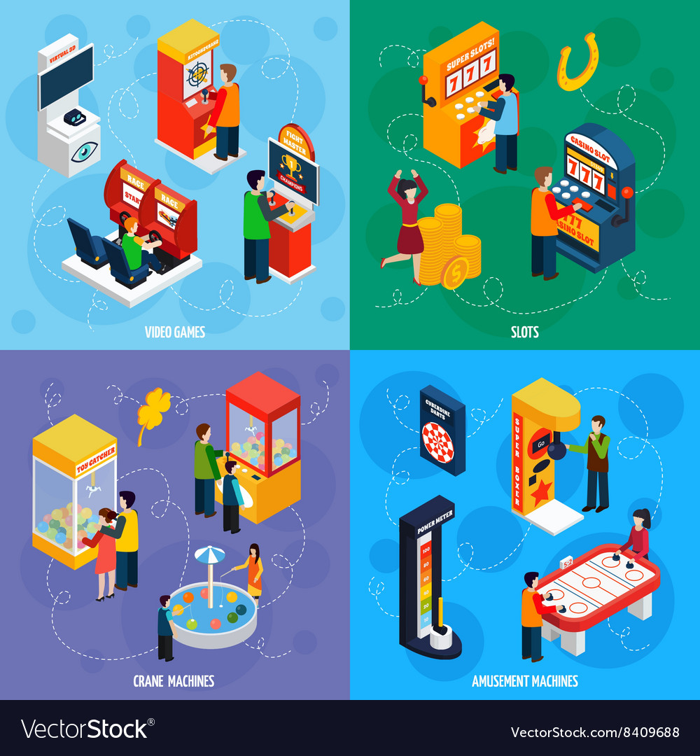 Game machines 4 isometric icons square vector