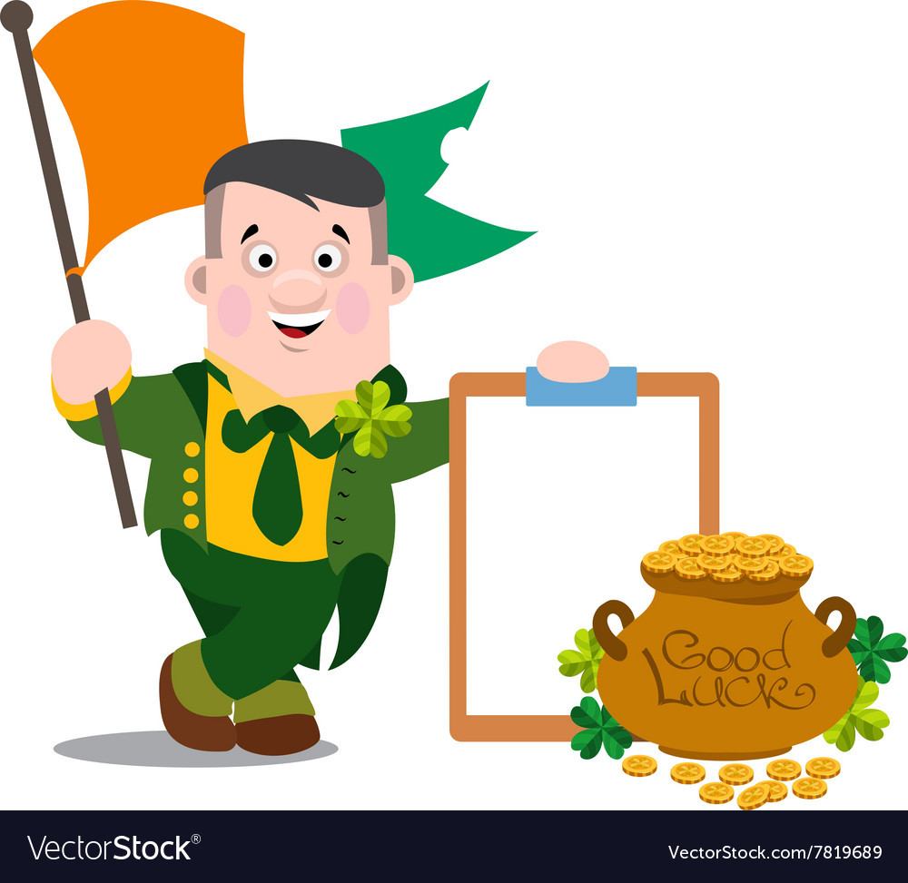 Ireland man with the flag st patrick s day vector