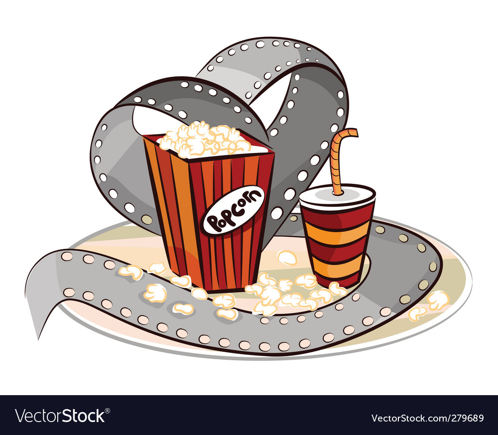 Popcorn drink and film roll vector