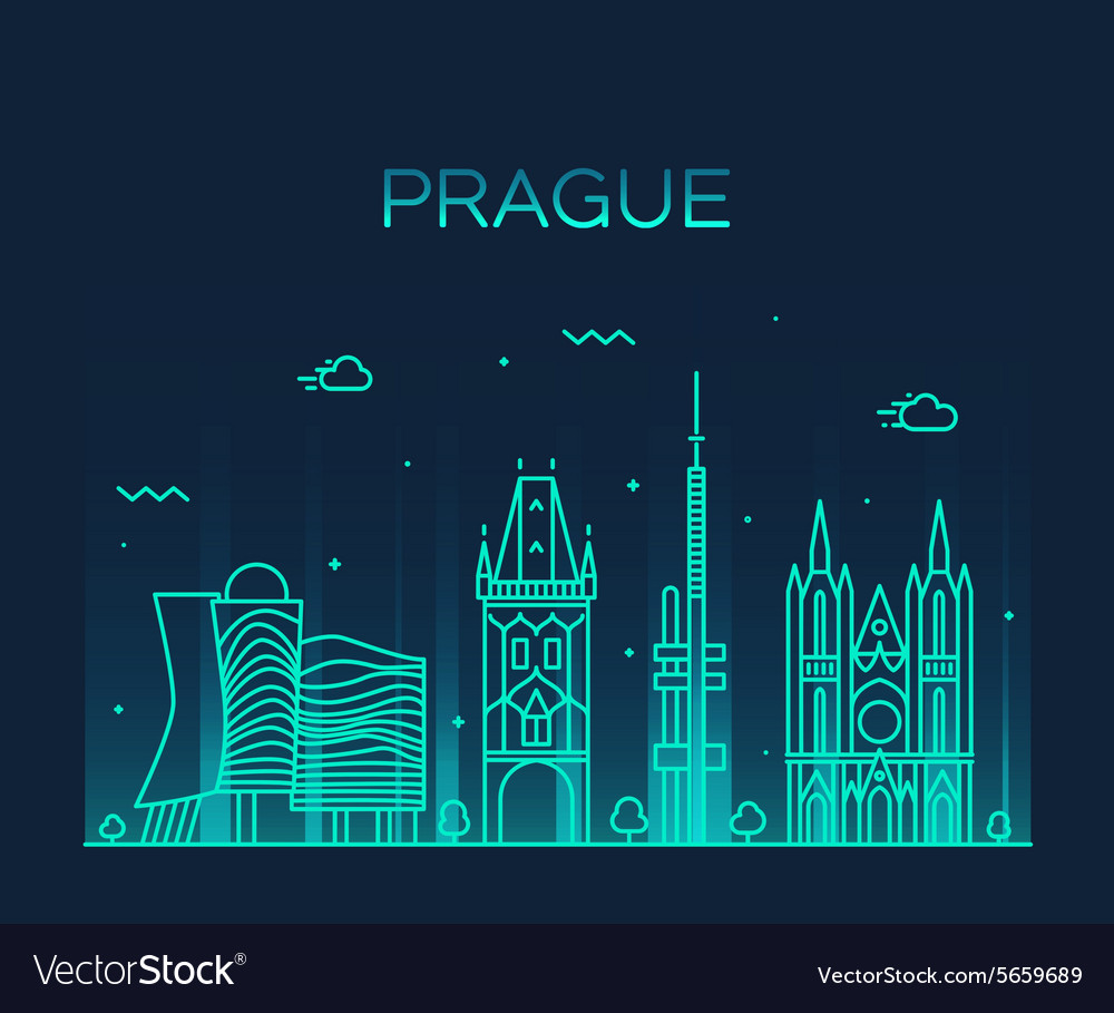 Prague skyline trendy linear vector